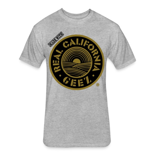 REAL CALIFORNIA GEEZ/BIG & TALL/blk, wht on gry - Fitted Cotton/Poly T-Shirt by Next Level