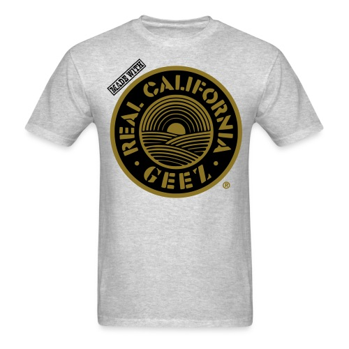 REAL CALIFORNIA GEEZ/BIG & TALL/blk, wht on gry - Men's T-Shirt