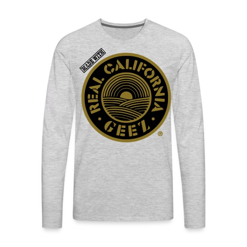 REAL CALIFORNIA GEEZ/BIG & TALL/blk, wht on gry - Men's Premium Long Sleeve T-Shirt