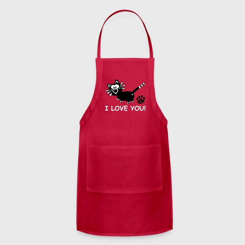 I love you Apron BBQ Cuisine Lover Cute Cat - Adjustable Apron