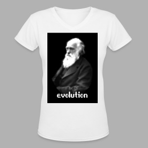 Darwin Evolution Pixels - Women's V-Neck T-Shirt