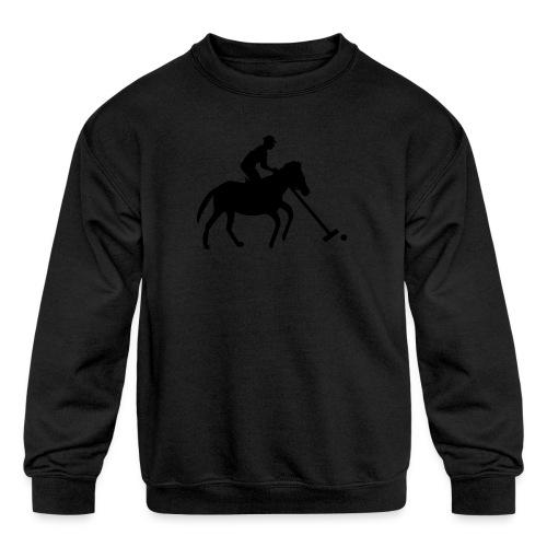 Polo Player in Silhouette - Kid's Crewneck Sweatshirt