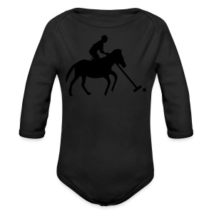 Polo Player in Silhouette - Long Sleeve Baby Bodysuit