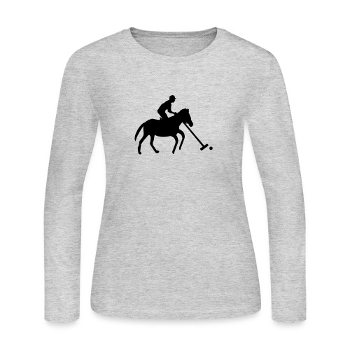 Polo Player in Silhouette - Women's Long Sleeve Jersey T-Shirt