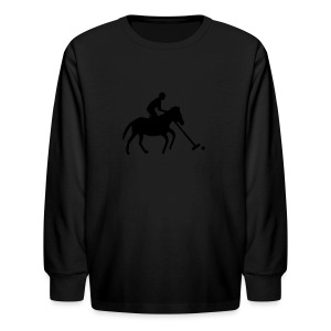 Polo Player in Silhouette - Kids' Long Sleeve T-Shirt