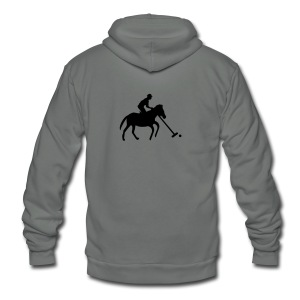 Polo Player in Silhouette - Unisex Fleece Zip Hoodie by American Apparel