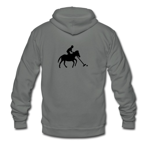Polo Player in Silhouette - Unisex Fleece Zip Hoodie