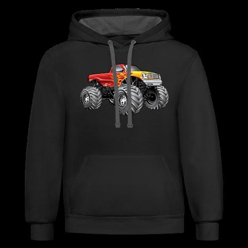 Blazing Fire Monster Truck - Contrast Hoodie
