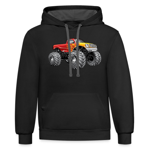Blazing Fire Monster Truck - Contrast Hoodie