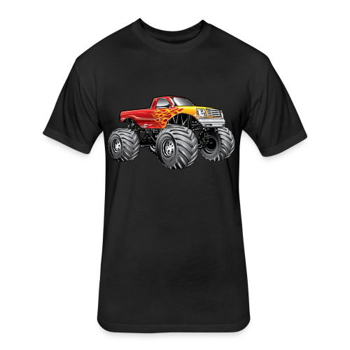 Blazing Fire Monster Truck - Fitted Cotton/Poly T-Shirt by Next Level