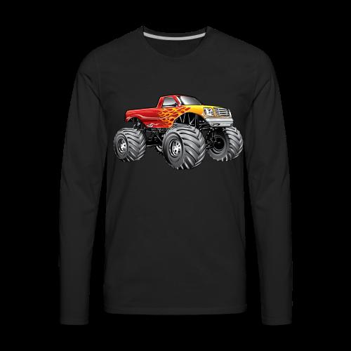 Blazing Fire Monster Truck - Men's Premium Long Sleeve T-Shirt