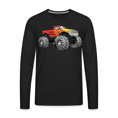 Blazing Fire Monster Truck - Men's Premium Long Sleeve T-Shirt