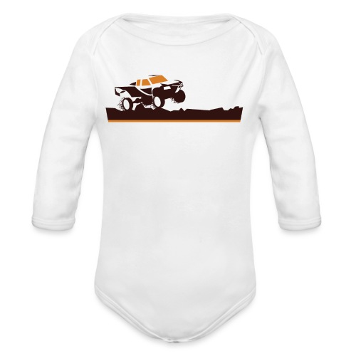 Race Truck Mud Run - Organic Long Sleeve Baby Bodysuit