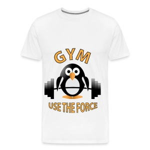 Penguin with a barbell - Men's Premium T-Shirt