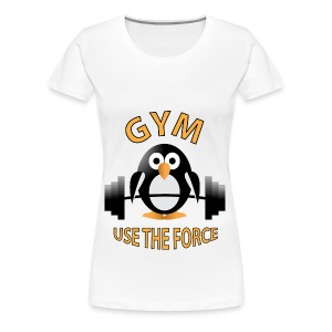 Penguin with a barbell - Women's Premium T-Shirt
