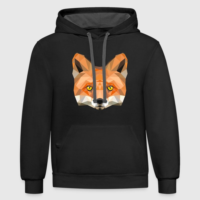 fox head low poly animal illustration art wilderne Hoodies - Contrast Hoodie