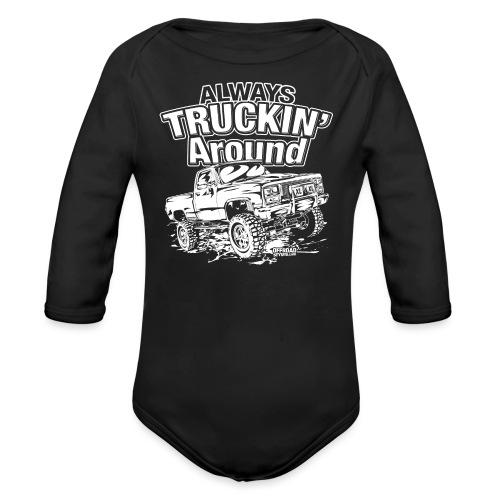 Alway's Truckin Around - Organic Long Sleeve Baby Bodysuit