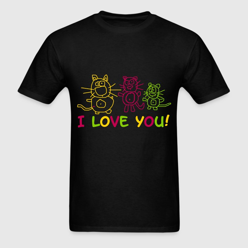 I love you Statement Cats Shirt Lover Cupid Cute  - Men's T-Shirt