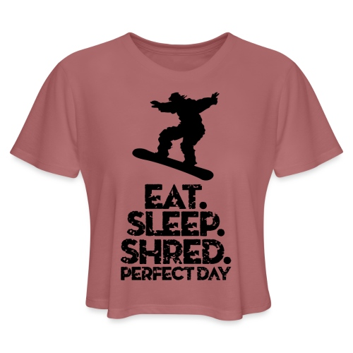 Snowboarder Eat Sleep Shred - Women's Cropped T-Shirt