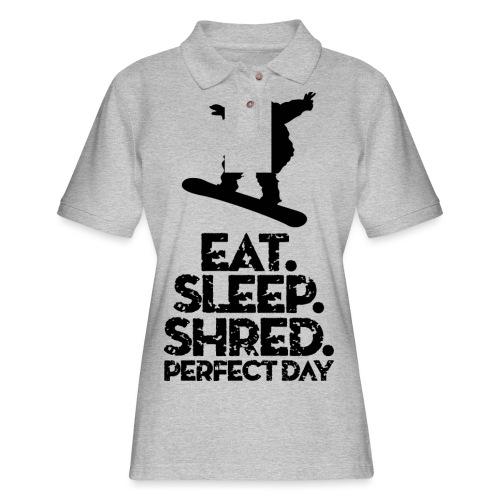 Snowboarder Eat Sleep Shred - Women's Pique Polo Shirt