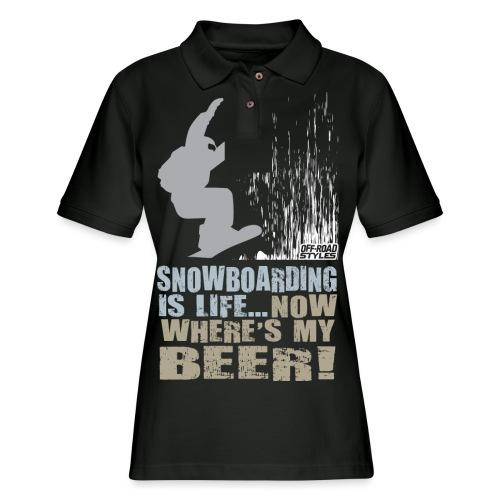 Snowboarder Beer - Women's Pique Polo Shirt