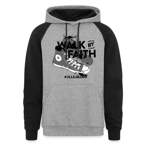 4 H.I.S.Glory Walk By Faith Gray Baseball Shirt - Colorblock Hoodie