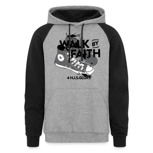 4 H.I.S.Glory Walk By Faith Gray Baseball Shirt - Colorblock Hoodie