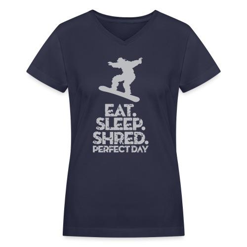 Snowboarder Shred - Women's V-Neck T-Shirt