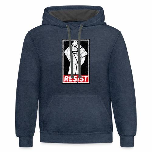 RESIST DISTRESSED SYLE - Contrast Hoodie