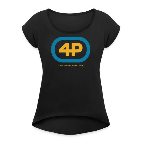 4Player Retro Logo (Color) - Women's T Shirt - Women's Roll Cuff T-Shirt