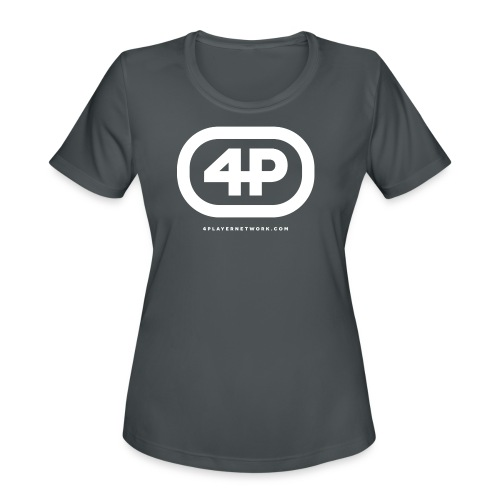4Player Retro Logo (Solid White) - Women's T Shirt - Women's Moisture Wicking Performance T-Shirt
