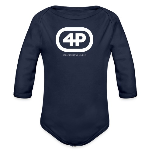 4Player Retro Logo (Solid White) - Women's T Shirt - Organic Long Sleeve Baby Bodysuit