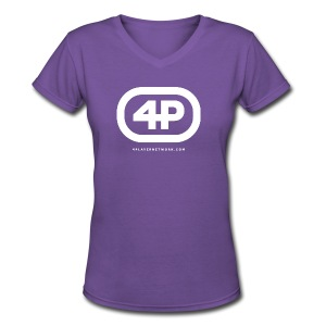 4Player Retro Logo (Solid White) - Women's T Shirt - Women's V-Neck T-Shirt