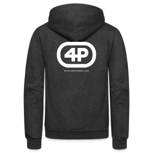 4Player Retro Logo (Solid White) - Women's T Shirt - Unisex Fleece Zip Hoodie by American Apparel