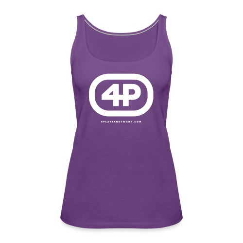 4Player Retro Logo (Solid White) - Women's T Shirt - Women's Premium Tank Top