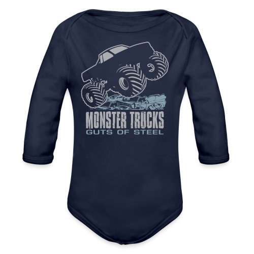 Monster Truck Steel Guts - Organic Long Sleeve Baby Bodysuit