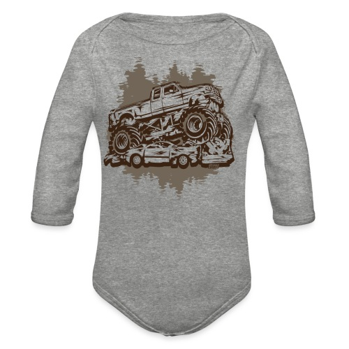 Monster Truck Grungy - Organic Long Sleeve Baby Bodysuit