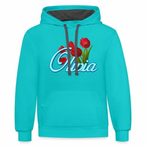 Olivia With Tulips - Contrast Hoodie