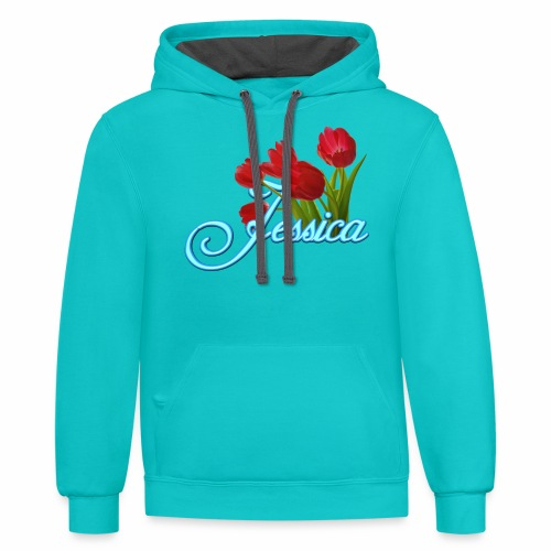 Jessica With Tulips - Contrast Hoodie
