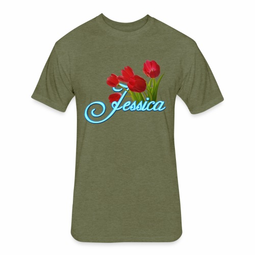 Jessica With Tulips - Fitted Cotton/Poly T-Shirt by Next Level