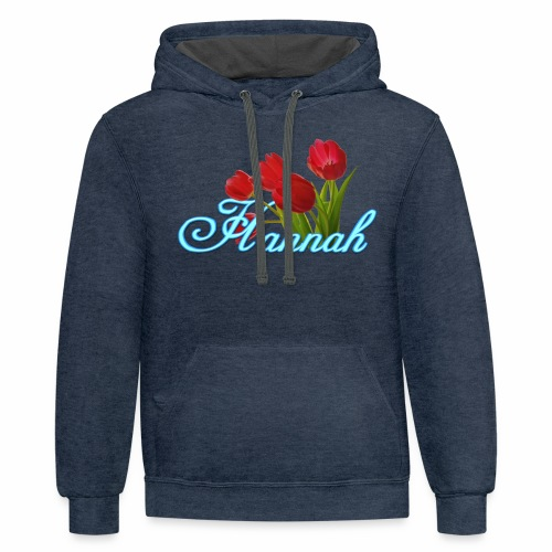 Hannah With Tulips - Contrast Hoodie