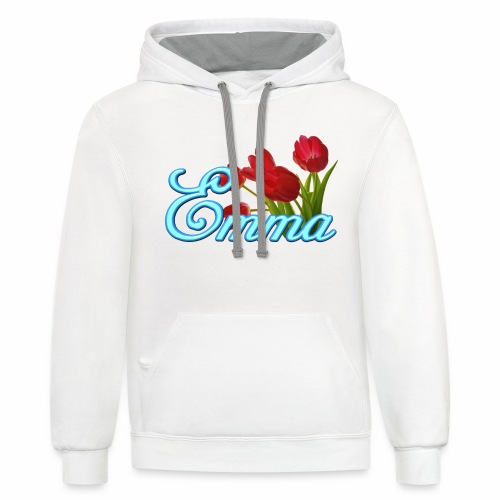 Emma With Tulips - Contrast Hoodie