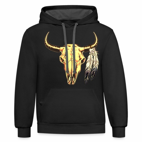 Skull with Feathers - Contrast Hoodie