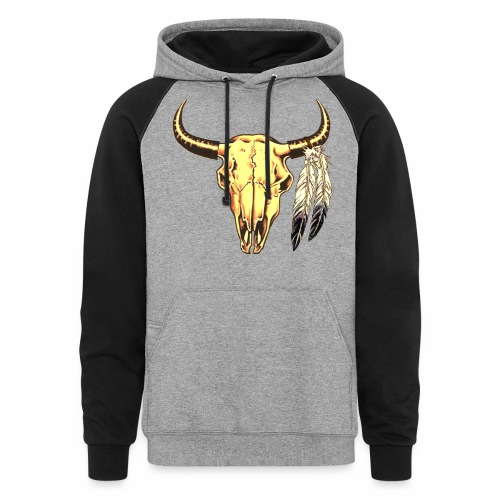 Skull with Feathers - Colorblock Hoodie