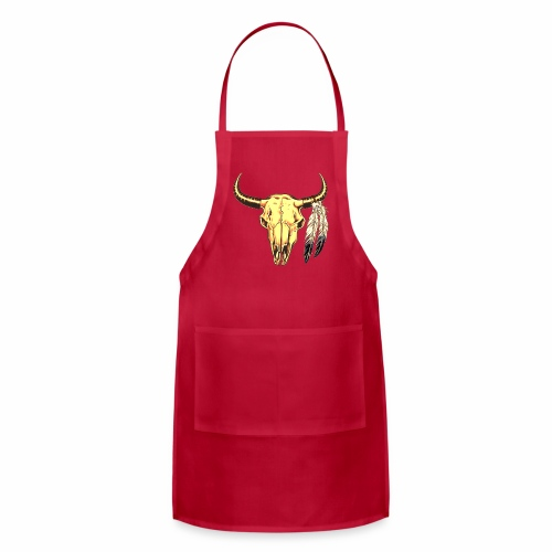 Skull with Feathers - Adjustable Apron