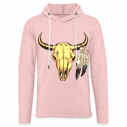 Skull with Feathers - Unisex Lightweight Terry Hoodie