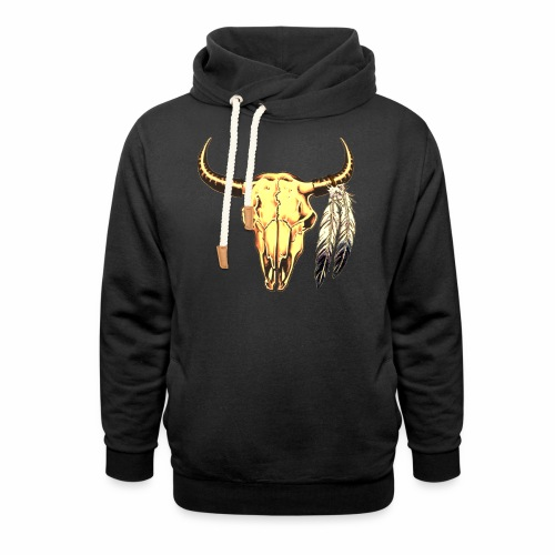 Skull with Feathers - Shawl Collar Hoodie