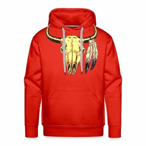 Skull with Feathers - Men's Premium Hoodie