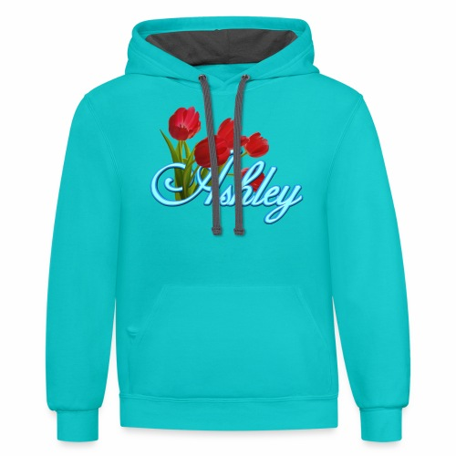 Ashley With Tulips - Contrast Hoodie