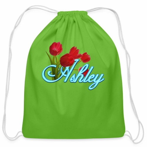 Ashley With Tulips - Cotton Drawstring Bag